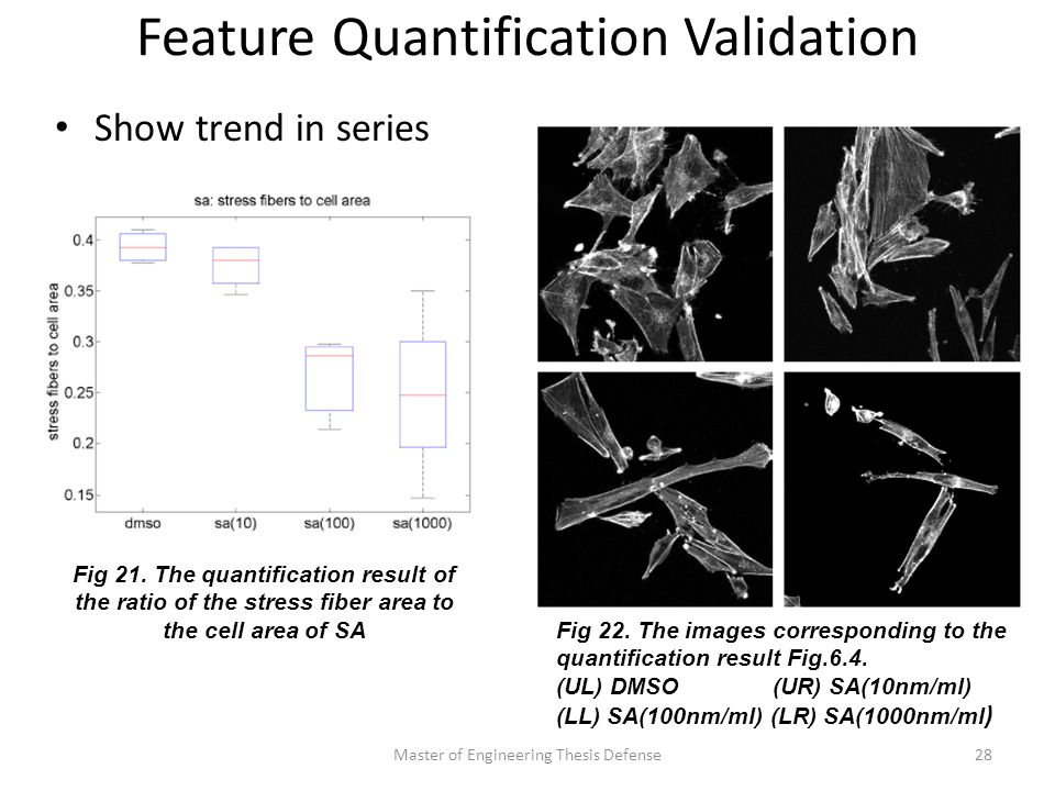 Feature Quantification Validation Show trend in series Master of Engineering Thesis Defense28 Fig 21.