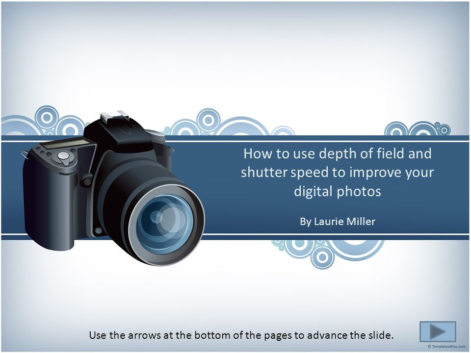 Using the Mode Dial you can put your SLR digital camera in manual mode so you have the control to adjust your shutter speed and aperture opening.