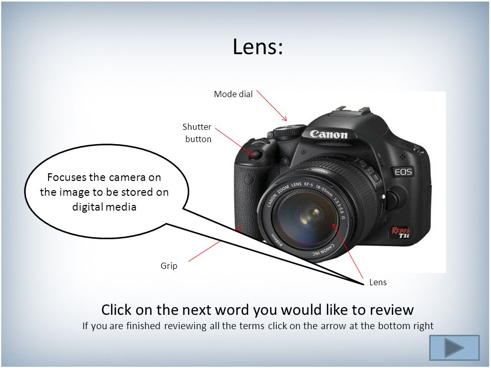 Click on the next word you would like to review If you are finished reviewing all the terms click on the arrow at the bottom right Lens: Mode dial Shutter Grip Lens button Focuses the camera on the image to be stored on digital media
