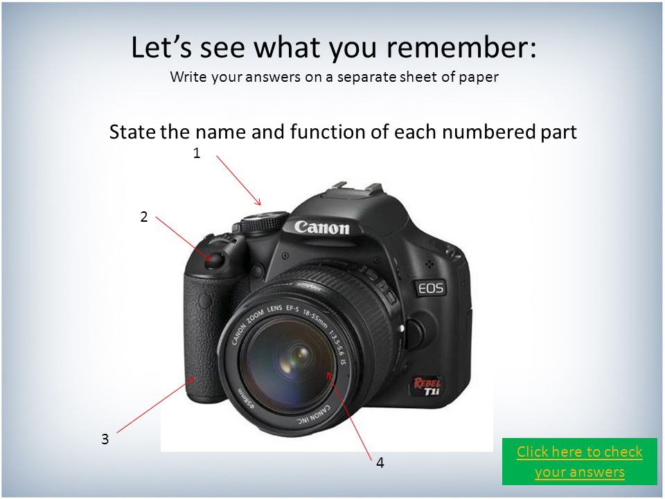 Let's see what you remember: Write your answers on a separate sheet of paper State the name and function of each numbered part 1 2 3 4 Click here to check your answers