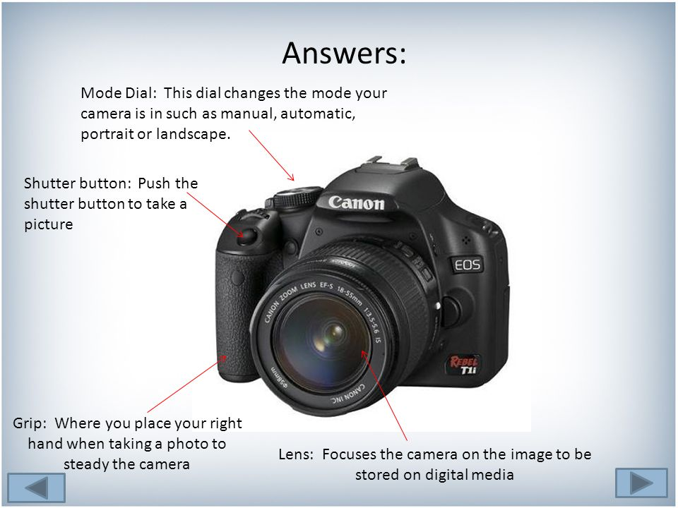 Answers: Lens: Focuses the camera on the image to be stored on digital media Grip: Where you place your right hand when taking a photo to steady the camera Mode Dial: This dial changes the mode your camera is in such as manual, automatic, portrait or landscape.
