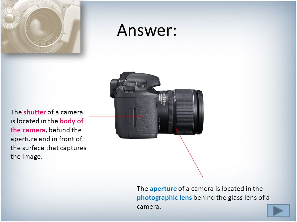 The aperture of a camera is located in the photographic lens behind the glass lens of a camera.