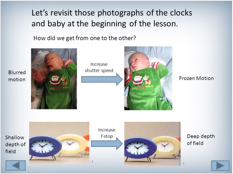 Let's revisit those photographs of the clocks and baby at the beginning of the lesson.