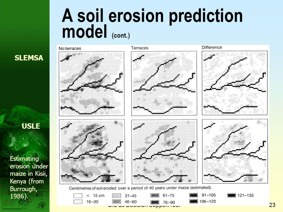 GIS as Decision Support Tool22 A soil erosion prediction model Soil seriesSoil depthSlopeSoil lengthRockiness EROSION MODEL New depthRate of erosion N