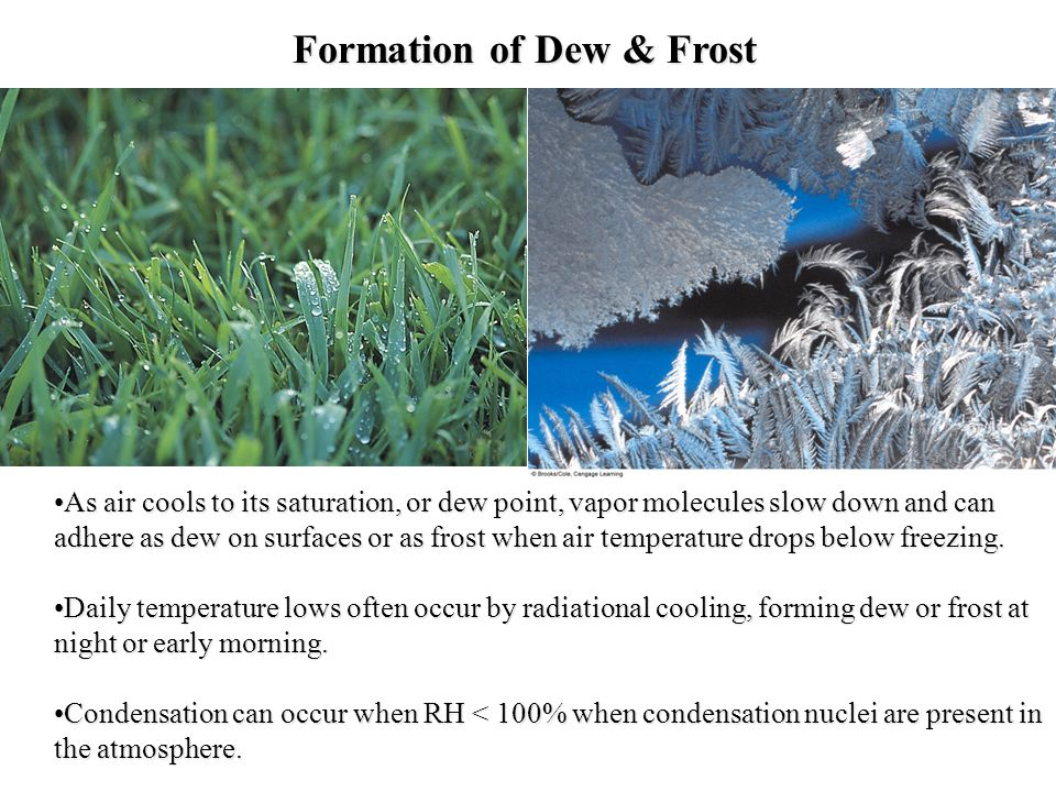 Formation of Dew & Frost As air cools to its saturation, or dew point, vapor molecules slow down and can adhere as dew on surfaces or as frost when ai