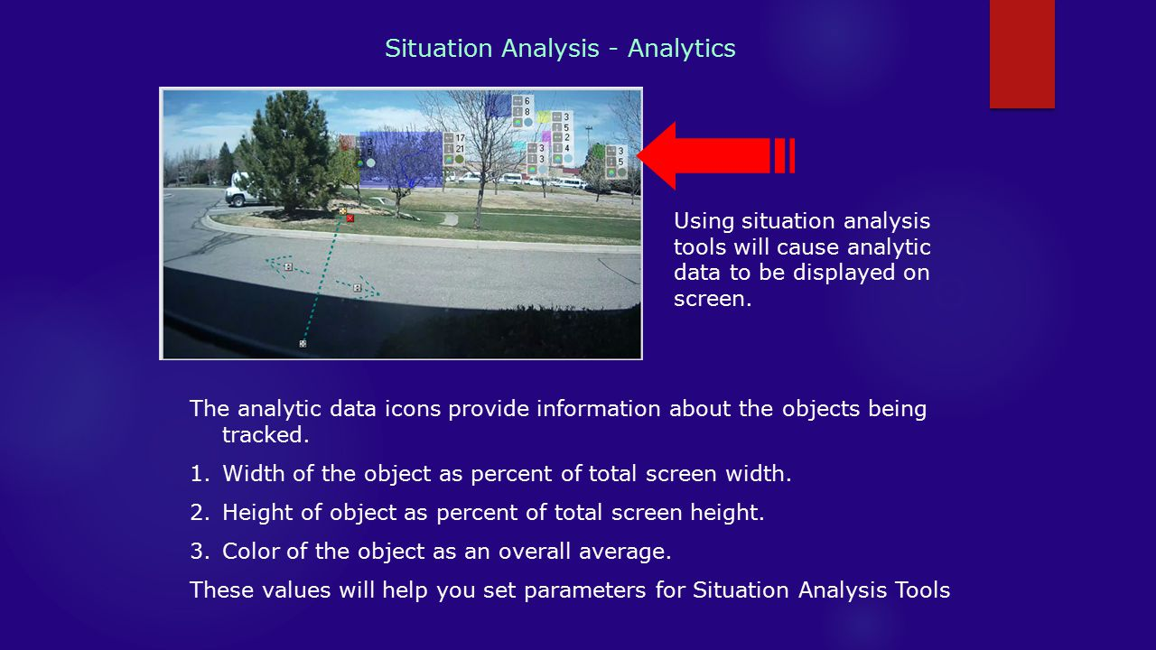 Situation Analysis - Analytics Using situation analysis tools will cause analytic data to be displayed on screen.