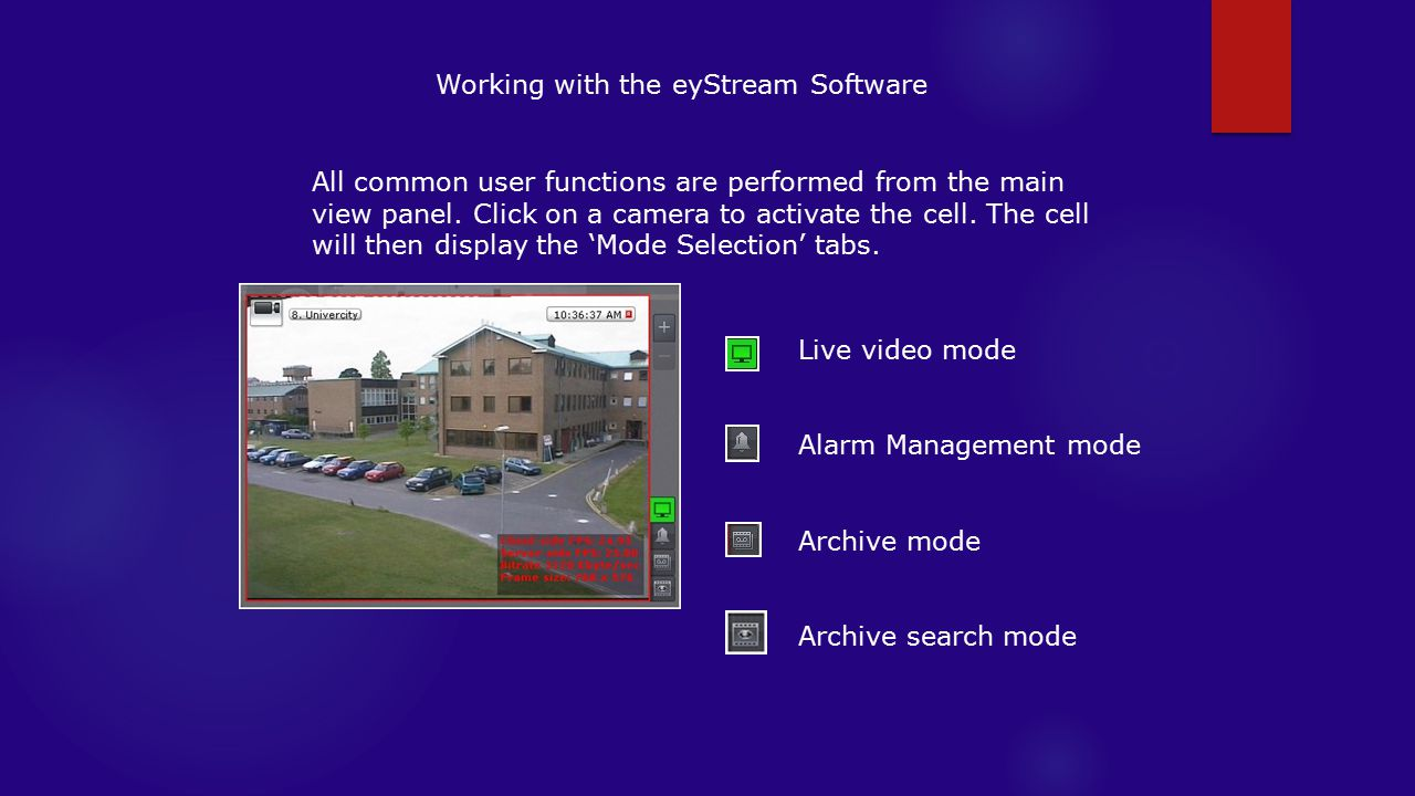 Working with the eyStream Software All common user functions are performed from the main view panel.