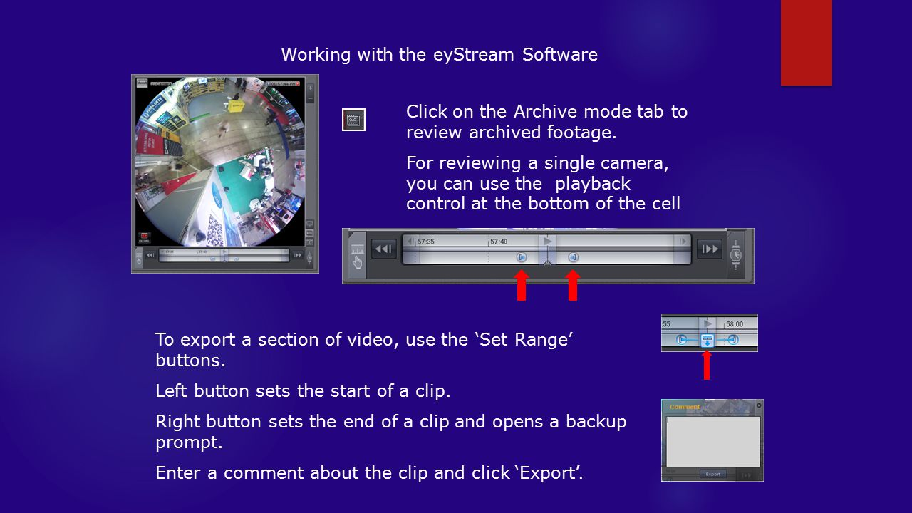 Working with the eyStream Software Click on the Archive mode tab to review archived footage.