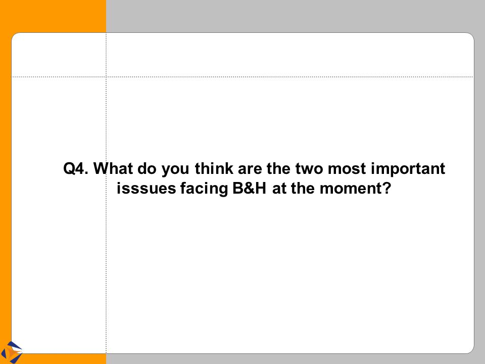Q4. What do you think are the two most important isssues facing B&H at the moment