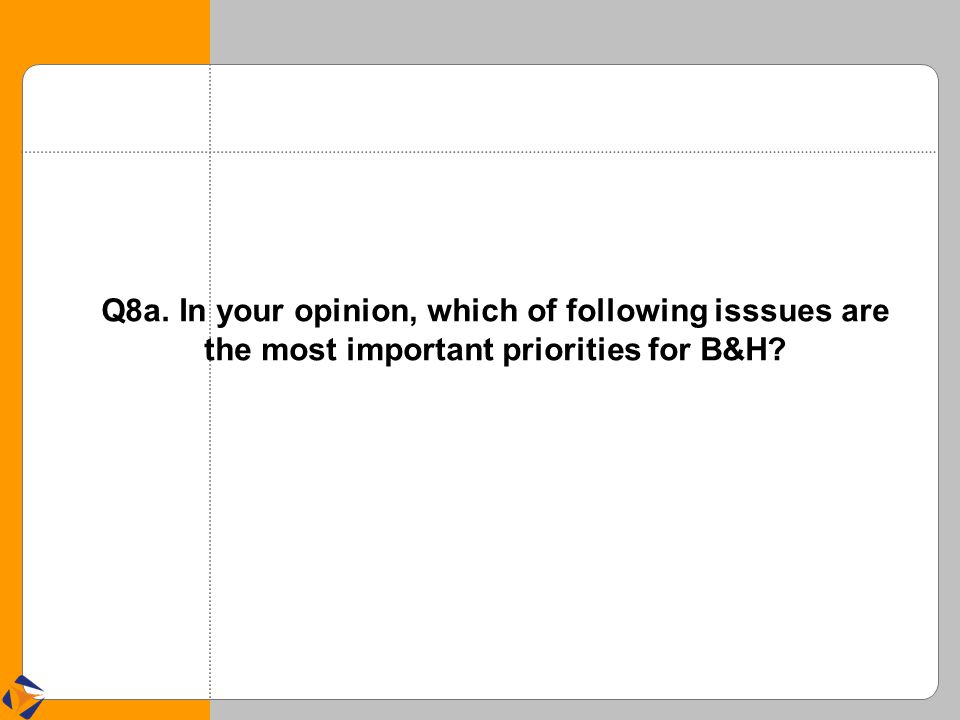 Q8a. In your opinion, which of following isssues are the most important priorities for B&H