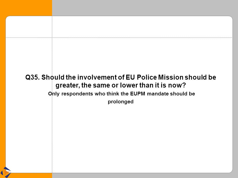 Q35. Should the involvement of EU Police Mission should be greater, the same or lower than it is now? Only respondents who think the EUPM mandate shou