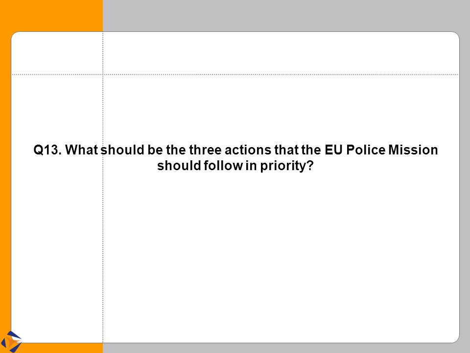 Q13. What should be the three actions that the EU Police Mission should follow in priority