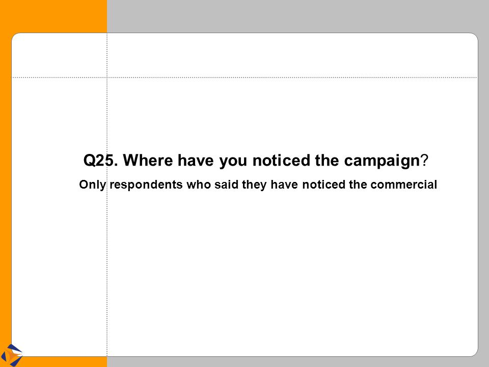 Q25. Where have you noticed the campaign? Only respondents who said they have noticed the commercial