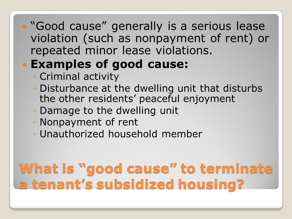 What is good cause to terminate a tenant's subsidized housing.