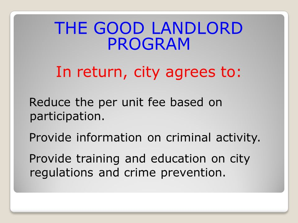 Reduce the per unit fee based on participation. Provide information on criminal activity.