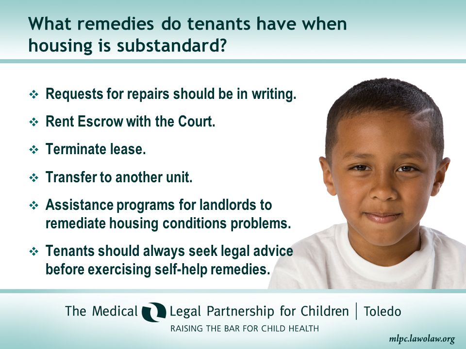 What remedies do tenants have when housing is substandard.