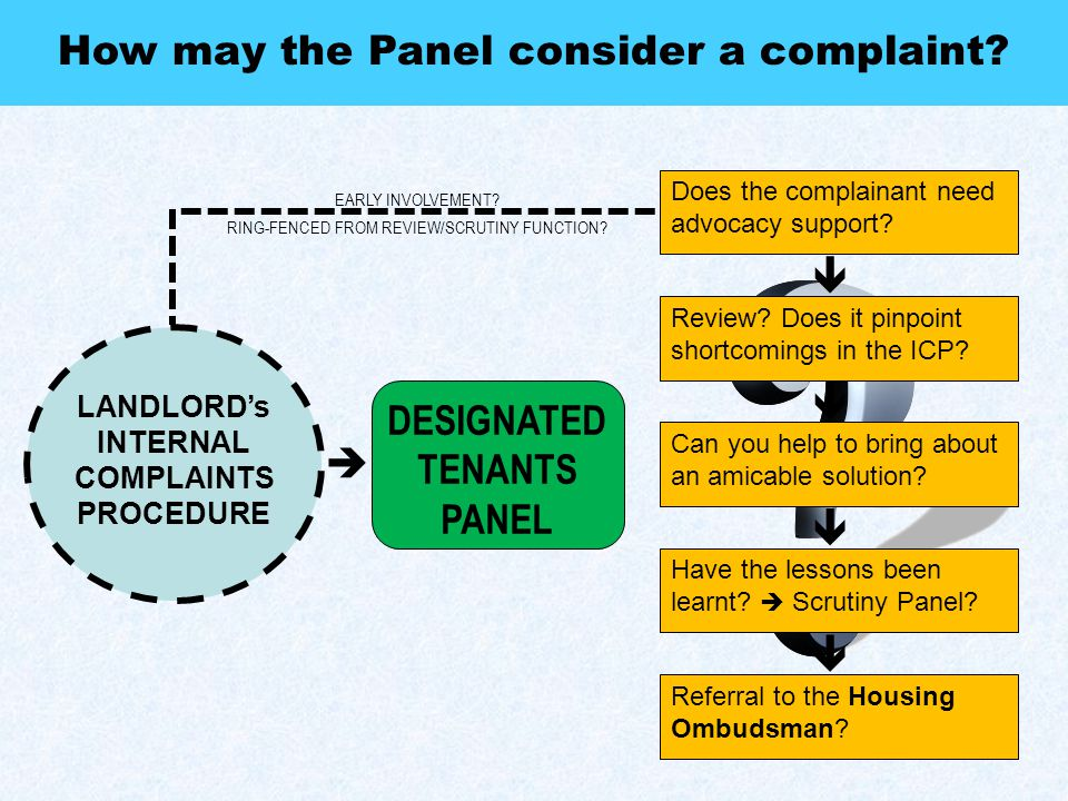 Does the complainant need advocacy support.How may the Panel consider a complaint.