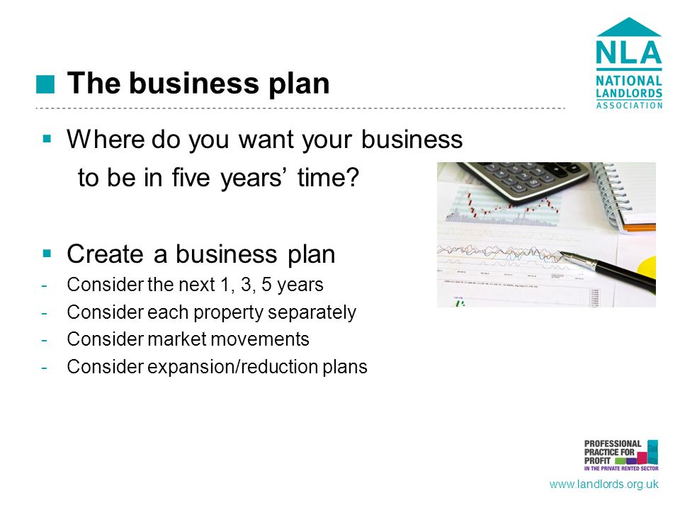 www.landlords.org.uk The business plan  Where do you want your business to be in five years' time.