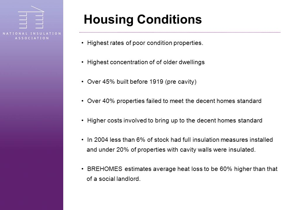 Housing Conditions Highest rates of poor condition properties. Highest concentration of of older dwellings Over 45% built before 1919 (pre cavity) Ove