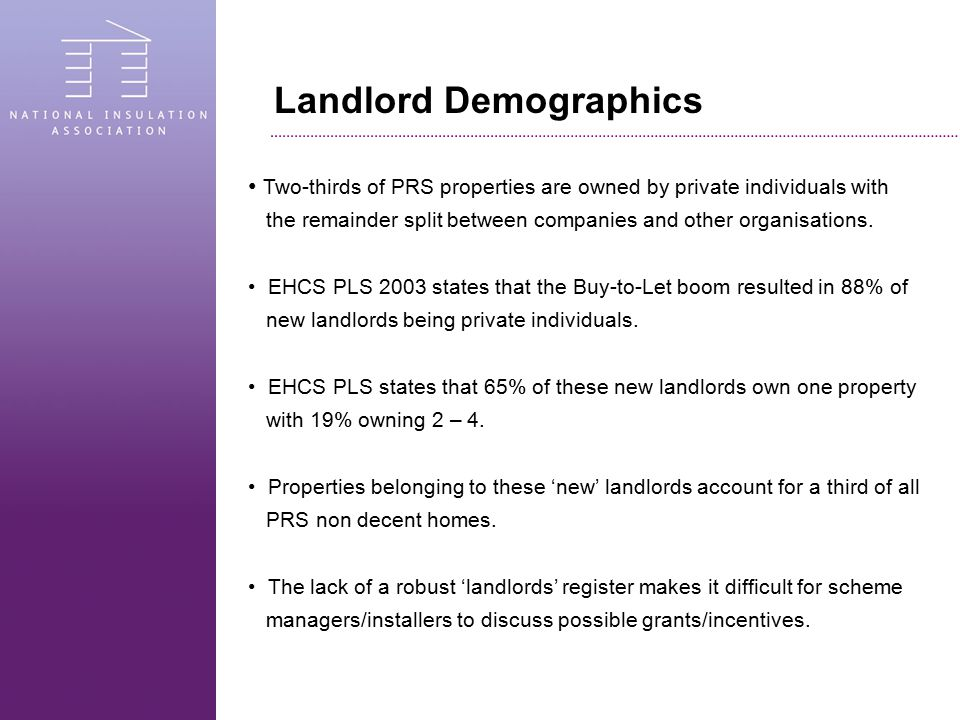 Landlord Demographics Two-thirds of PRS properties are owned by private individuals with the remainder split between companies and other organisations