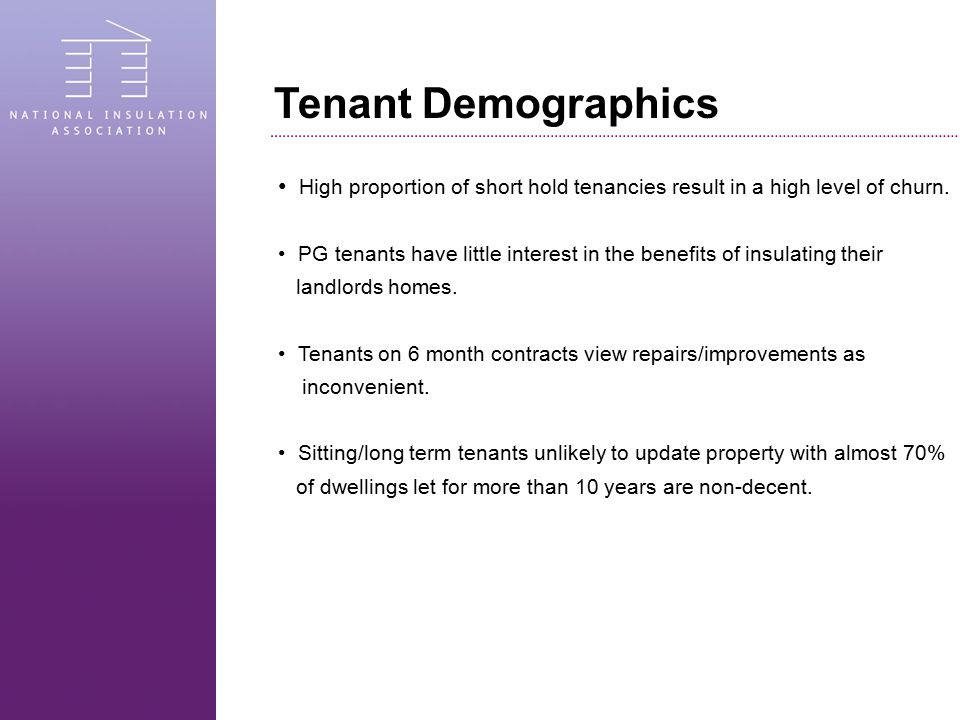 Tenant Demographics High proportion of short hold tenancies result in a high level of churn.