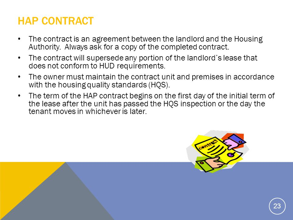 HAP CONTRACT The contract is an agreement between the landlord and the Housing Authority.