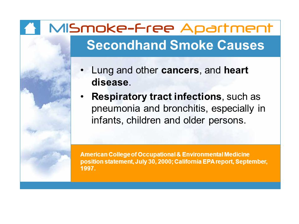 Secondhand Smoke Causes Lung and other cancers, and heart disease.
