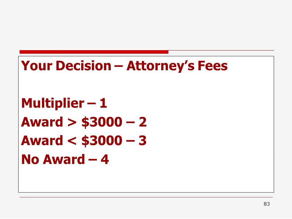 83 Your Decision – Attorney's Fees Multiplier – 1 Award > $3000 – 2 Award < $3000 – 3 No Award – 4