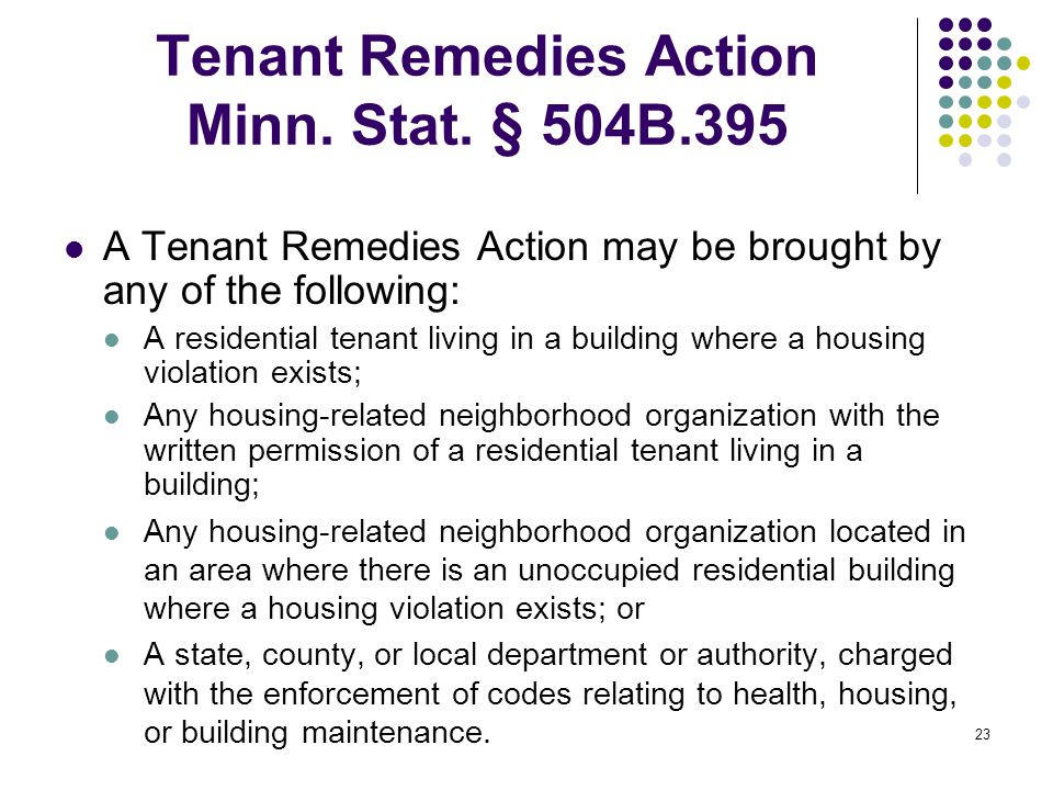 23 Tenant Remedies Action Minn. Stat.