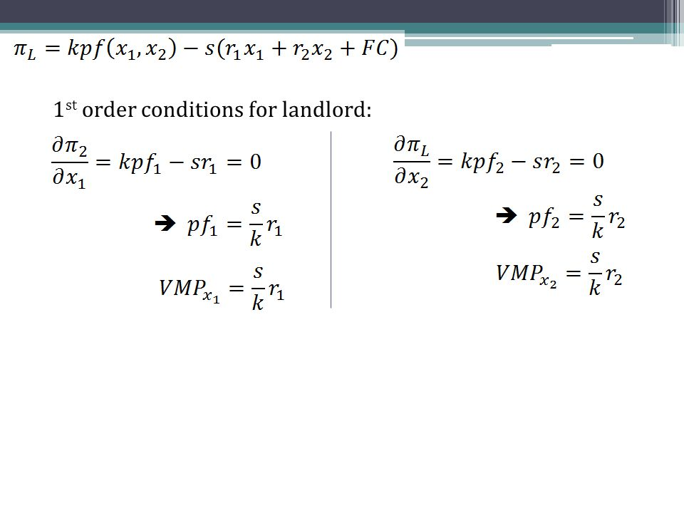 1 st order conditions for landlord: