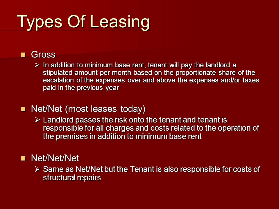 Minimum Base Rent Minimum Base Rent  specific amount based on the area of the leased premises premises Additional Rent Additional Rent  calculated on a proportionate share basis and includes payment of such items as:  operating costs ( CAM ): (Include a right to inspect/ audit clause of landlord's records with respect to operating costs)  Taxes  administrative fees Rent