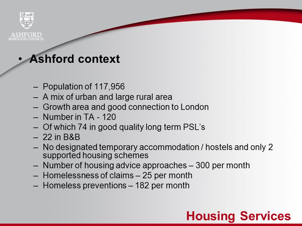 Housing Services Lessons So Far….Some of our assumptions were wrong!!.