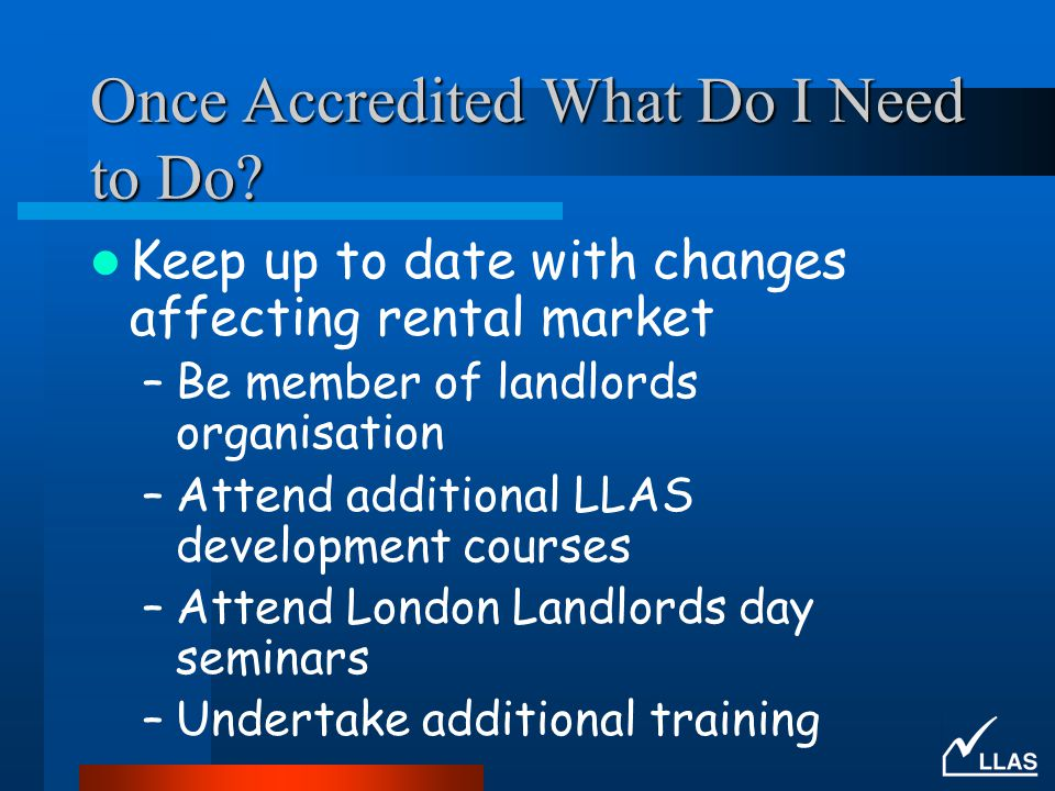 Once Accredited What Do I Need to Do.