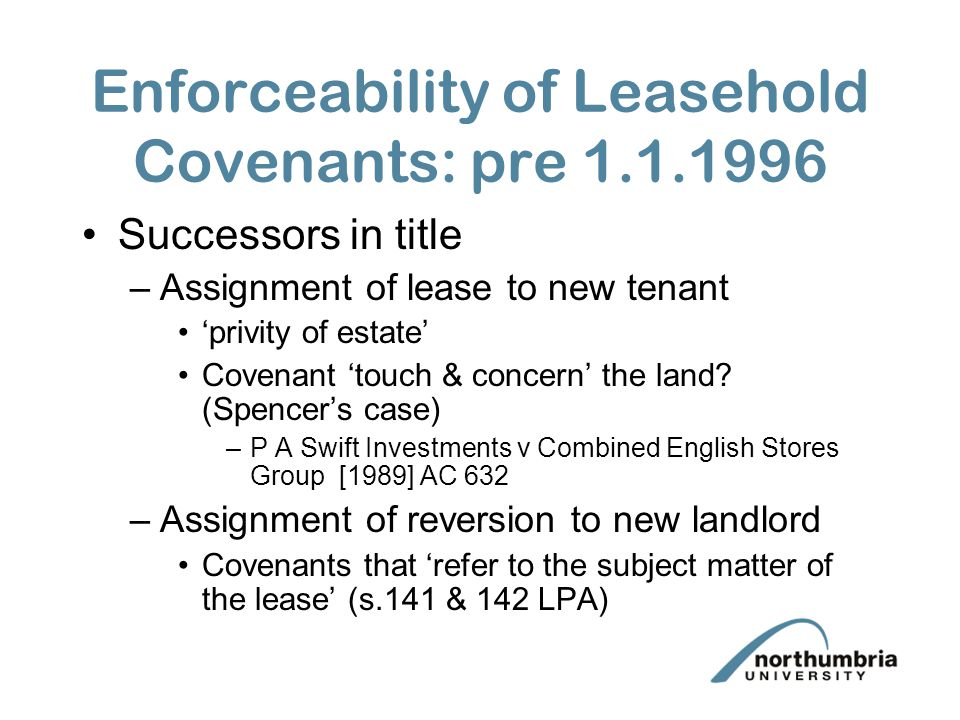 Landlord  Tenant Leasehold Covenants Terminology Characteristics