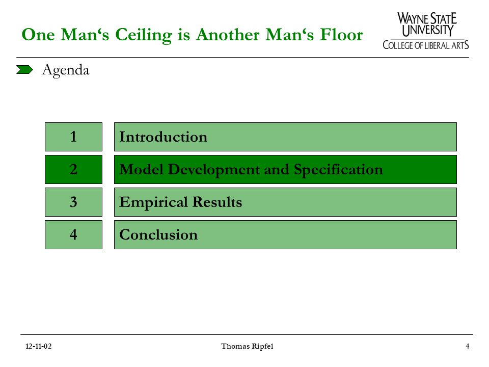 Agenda One Man's Ceiling is Another Man's Floor Introduction1 Model Development and Specification2 Empirical Results3 Conclusion4 12-11-02Thomas Ripfel4