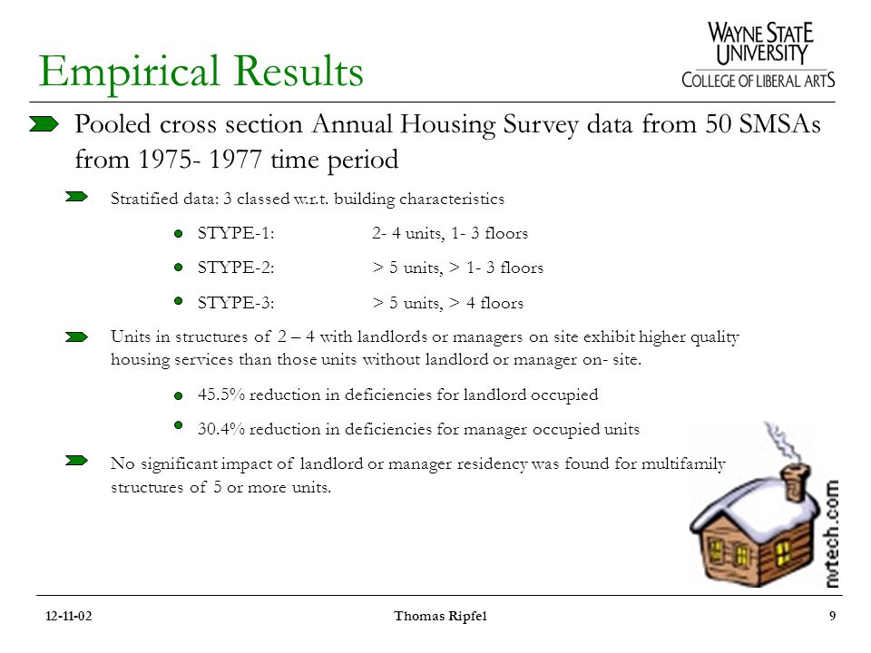 Empirical Results Pooled cross section Annual Housing Survey data from 50 SMSAs from 1975- 1977 time period Stratified data: 3 classed w.r.t.