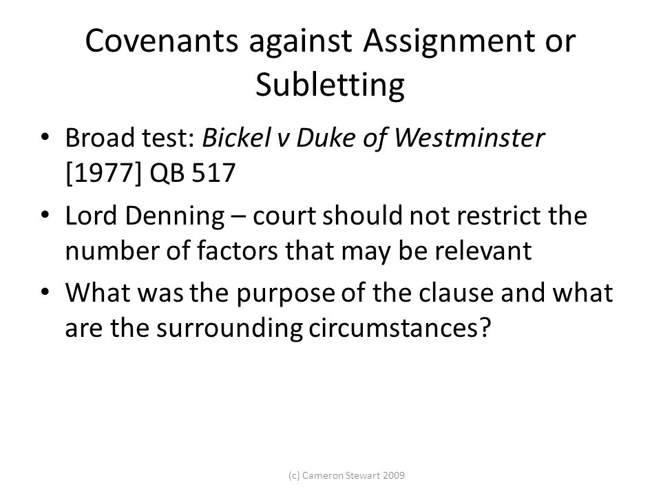 Assignment and subletting