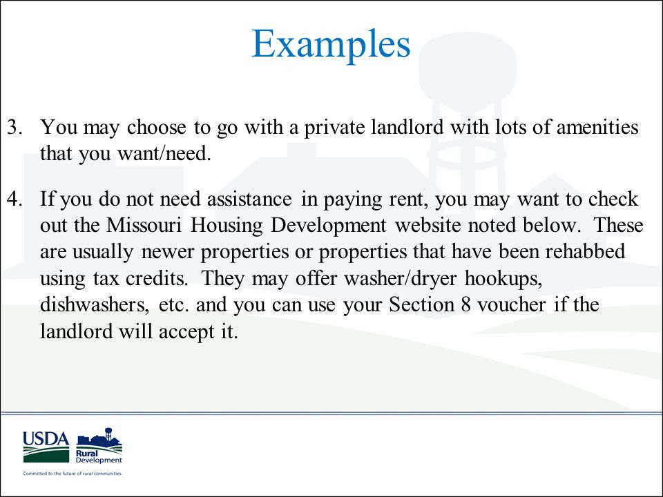 Examples 3.You may choose to go with a private landlord with lots of amenities that you want/need.