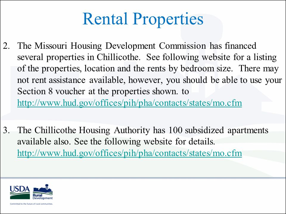 Rental Properties 2.The Missouri Housing Development Commission has financed several properties in Chillicothe.