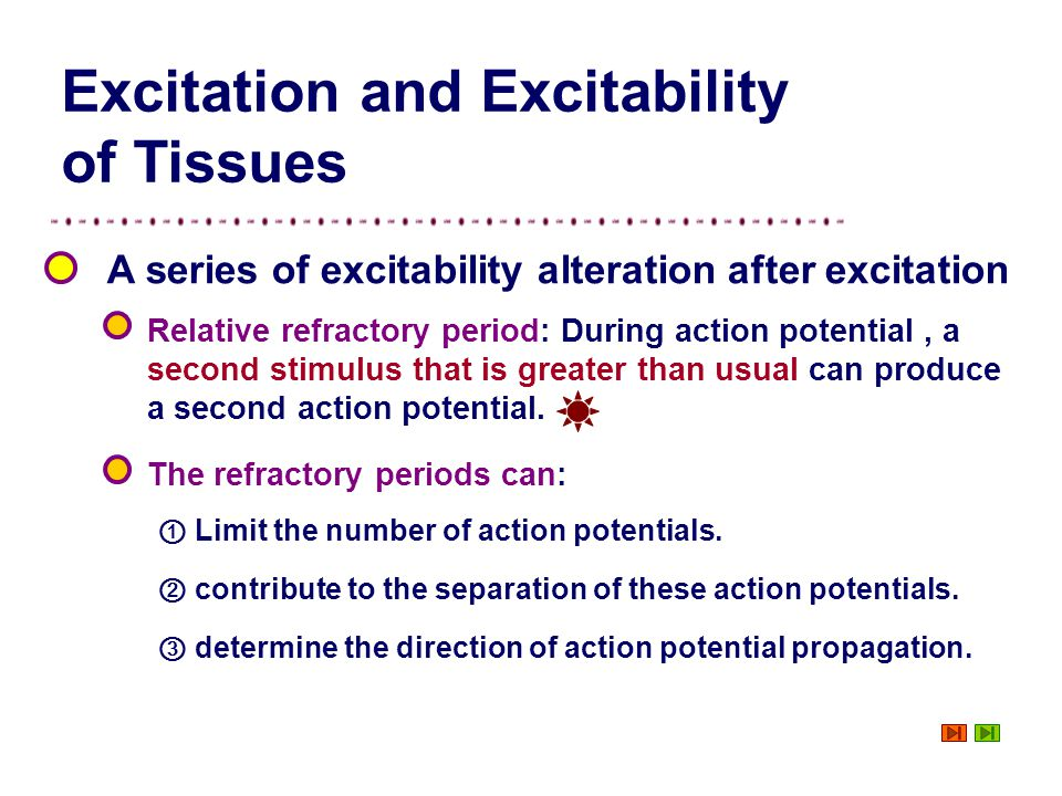 Excitation and Excitability of Tissues Excitation and excitable cells and excitability Relationship between threshold potential and threshold stimulus