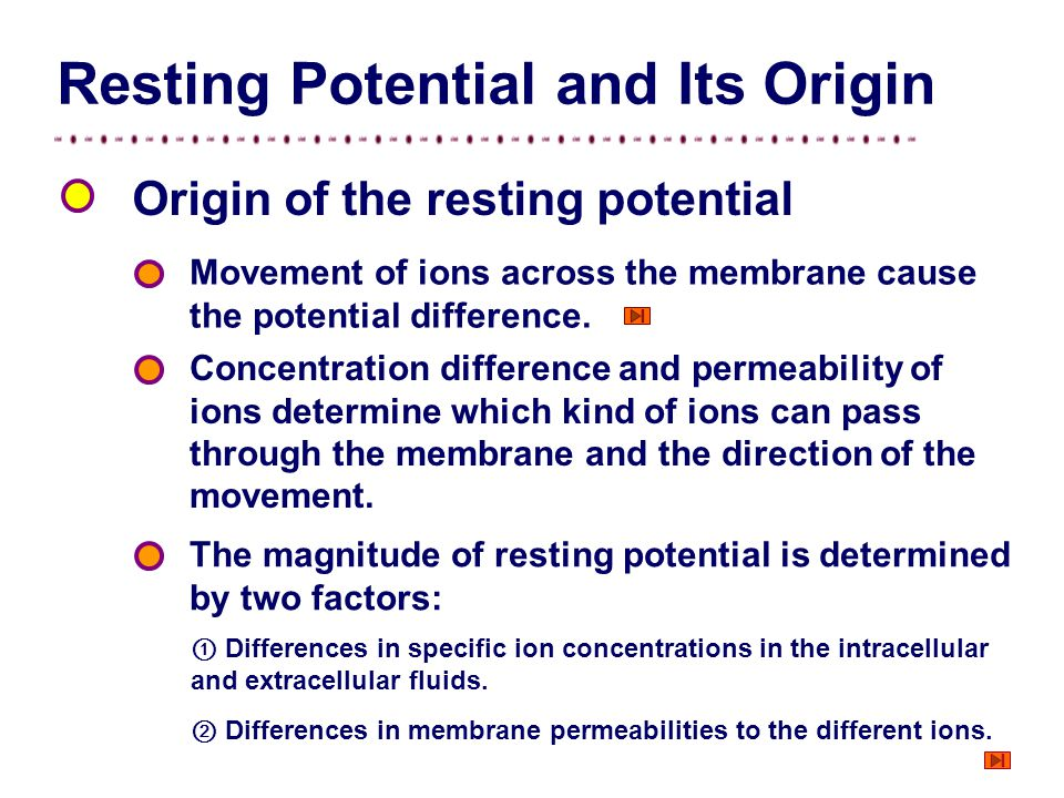 Figure Distribution of ions in the two sides of the membrane. Movement of ions across the membrane causes the potential difference. Indifferent electr