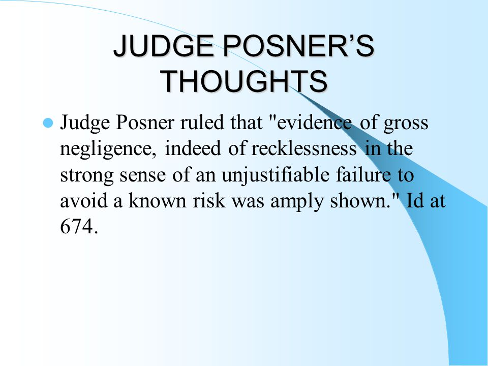 JUDGE POSNER'S THOUGHTS Judge Posner ruled that