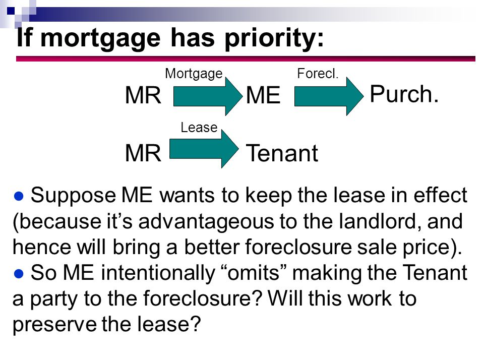 If mortgage has priority: ●Suppose ME wants to keep the lease in effect (because it's advantageous to the landlord, and hence will bring a better foreclosure sale price).