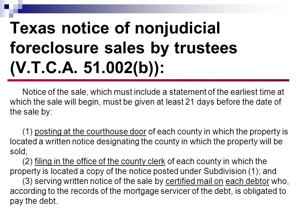 Texas notice of nonjudicial foreclosure sales by trustees (V.T.C.A.