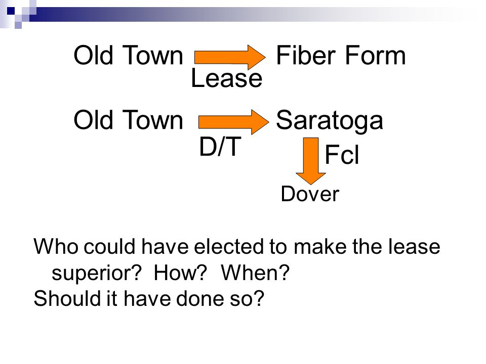 Old TownFiber Form Old TownSaratoga Lease D/T Fcl Dover Who could have elected to make the lease superior.