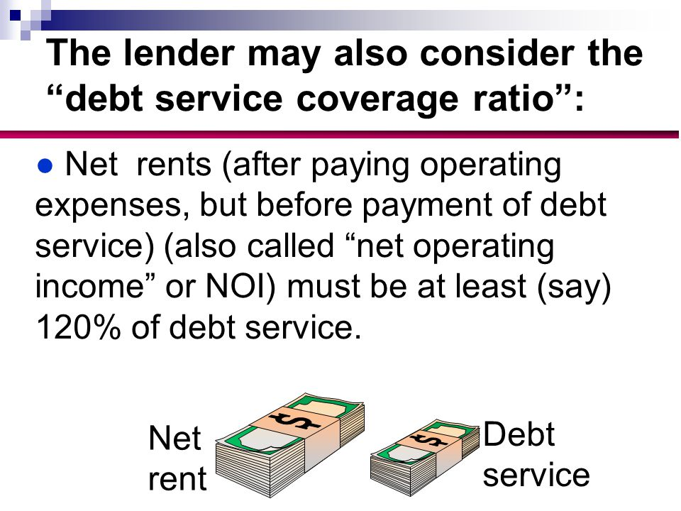 The lender may also consider the debt service coverage ratio : ●Net rents (after paying operating expenses, but before payment of debt service) (also called net operating income or NOI) must be at least (say) 120% of debt service.