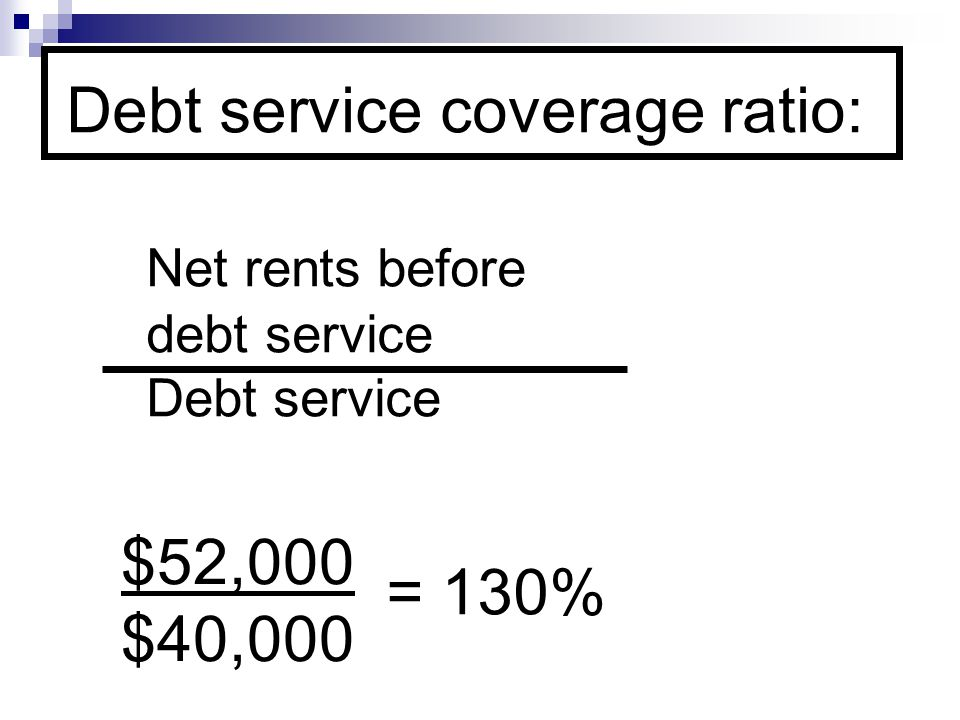 Debt service coverage ratio: Net rents before debt service Debt service $52,000 $40,000 = 130%
