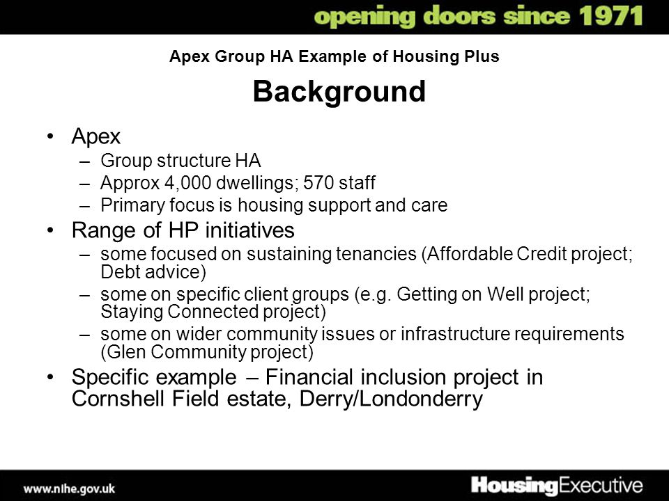 Apex Group HA Example of Housing Plus Background Apex –Group structure HA –Approx 4,000 dwellings; 570 staff –Primary focus is housing support and care Range of HP initiatives –some focused on sustaining tenancies (Affordable Credit project; Debt advice) –some on specific client groups (e.g.