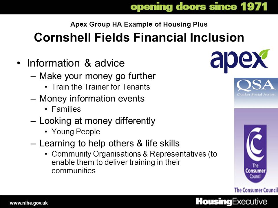 Apex Group HA Example of Housing Plus Cornshell Fields Financial Inclusion Information & advice –Make your money go further Train the Trainer for Tenants –Money information events Families –Looking at money differently Young People –Learning to help others & life skills Community Organisations & Representatives (to enable them to deliver training in their communities
