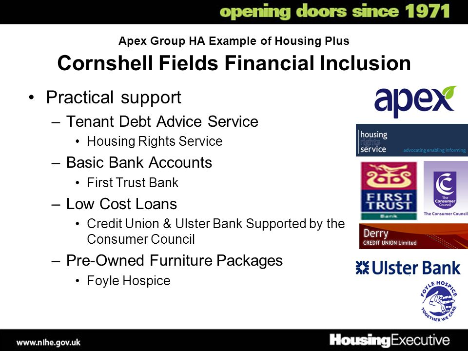 Apex Group HA Example of Housing Plus Cornshell Fields Financial Inclusion Practical support –Tenant Debt Advice Service Housing Rights Service –Basic